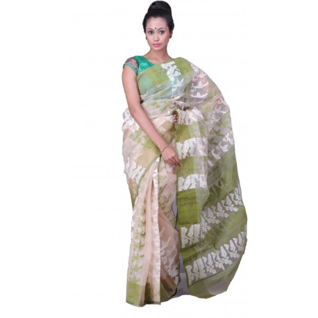Sanrocks Global Fashions Woven Jamdani Cotton Saree  (Beige, Green, White)