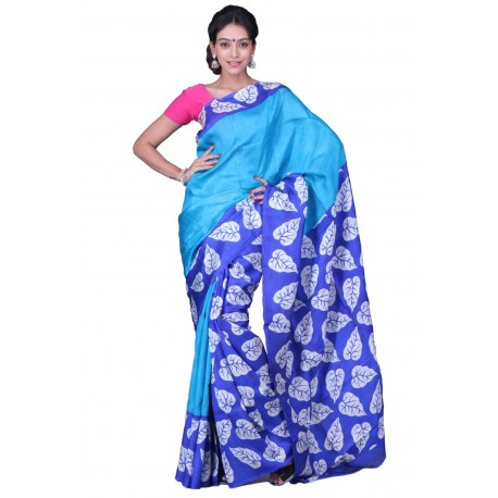 Sanrocks Global Fashions Printed Murshidabad Silk Saree  (Blue)