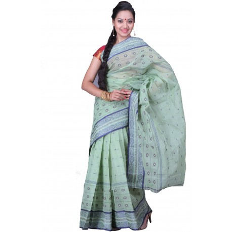 Sanrocks Global Fashions Woven Tant Cotton Saree  (Light Green)