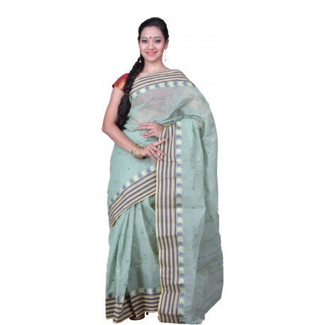 Sanrocks Global Fashions Woven Tant Cotton Saree  (Green)