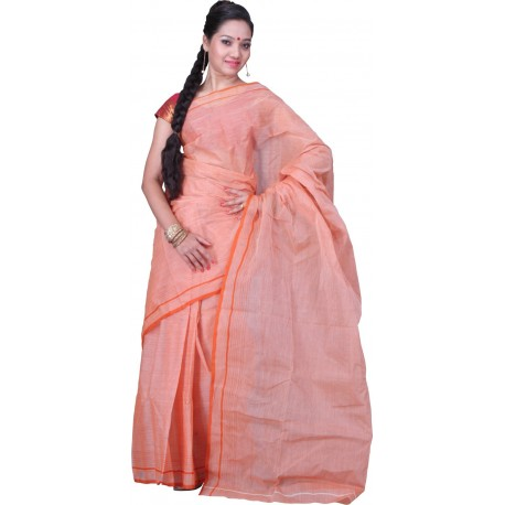Sanrocks Global Fashions Woven Tant Cotton Saree  (Orange)