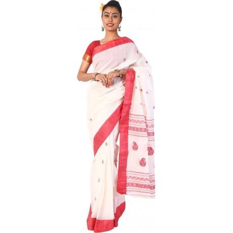 Woven Tant Cotton Saree (Red, White)