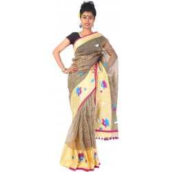 Woven, Embroidered Tant Cotton Polyester Blend Saree (Multicolor)