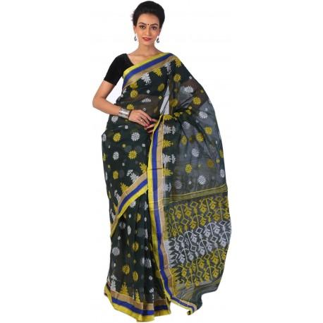 Woven Tant Cotton Saree (Multicolor)