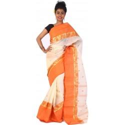 Sanrocks Global Fashions Woven Tant Cotton Saree  (Orange)