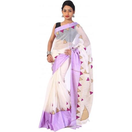 Applique on Cotton Blend Saree