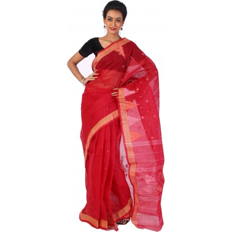Sanrocks Global Fashions Woven Tant Cotton Saree  (Red)