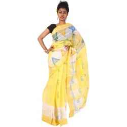 Sanrocks Global Fashions Woven Tant Cotton Saree  (Yellow)