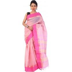 sanrocks global fashions Woven Tant Cotton Saree  (Pink)