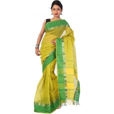 sanrocks global fashions Woven Tant Cotton Saree  (Green, Yellow)